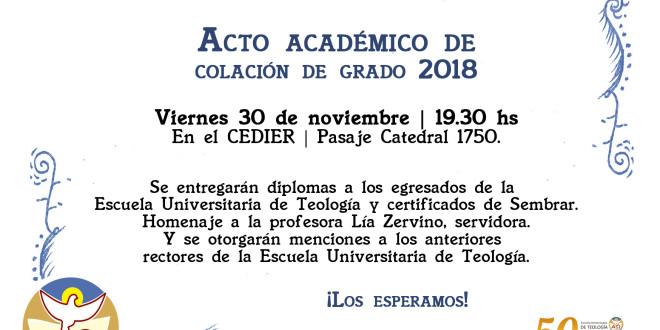 30 de noviembre: Acto académico de colación de grado