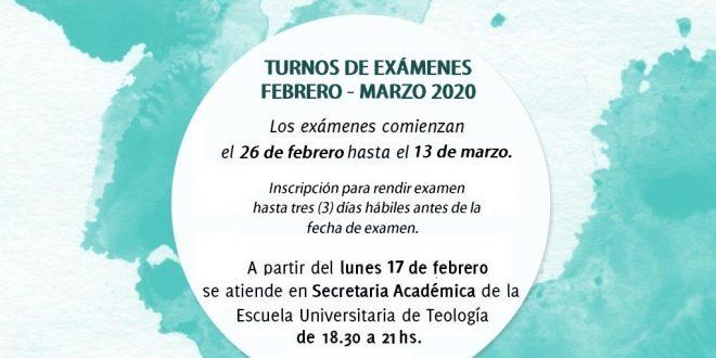 TURNOS DE EXÁMENES FEBRERO – MARZO 2020