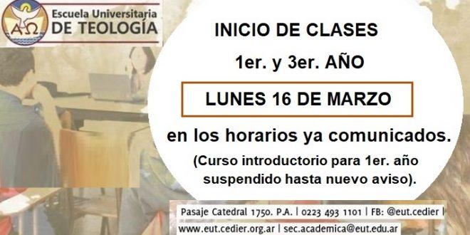 SUSPENSIÓN CURSO INTRODUCTORIO. INICIO DE CLASES 1ER. Y 3ER. AÑO: LUNES 16 DE MARZO.