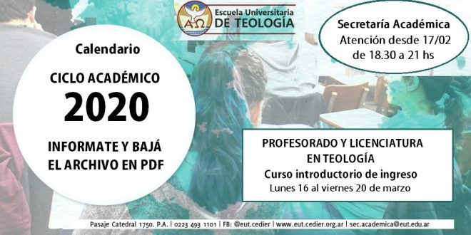 CALENDARIO CICLO ACADÉMICO 2020